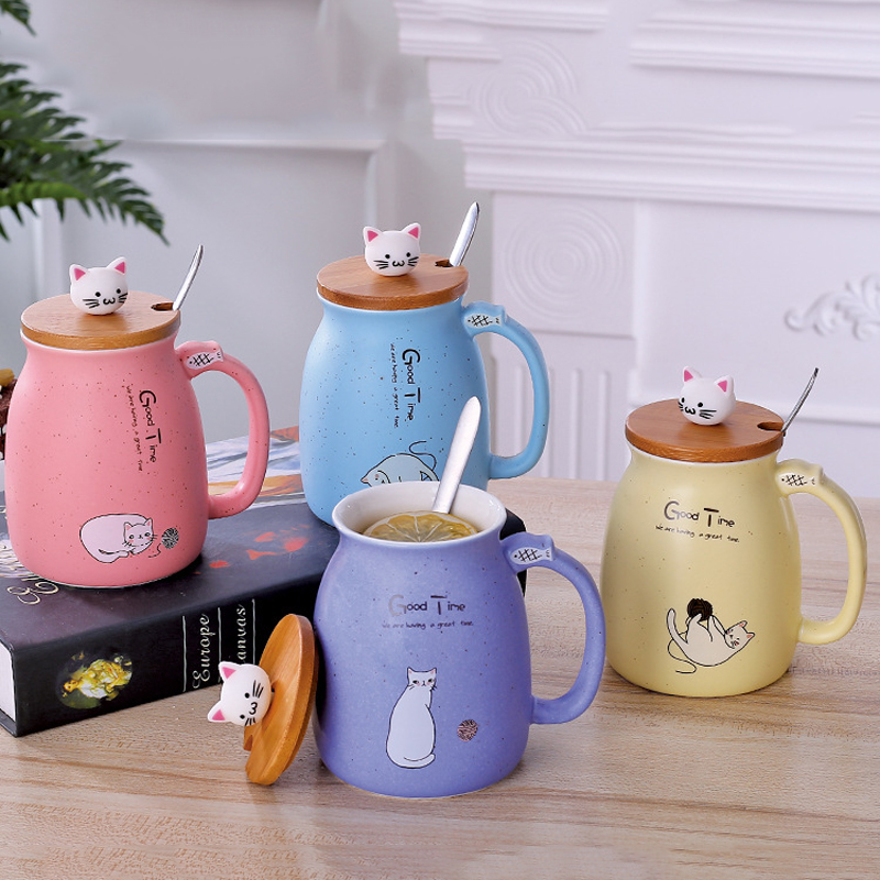Mug Heat-Resistant-Cup Cup Cartoon Milk Cat Kitten Color Children with Ceramic Lid-Cup