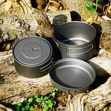 TOAKS Outdoor Camping Titanium Cookware set Three-piece 1350ml+900ml+300ml Pot and Frying Pan Ultralight Portable for Picnic titanium cookware 2 piece pot and bowl set