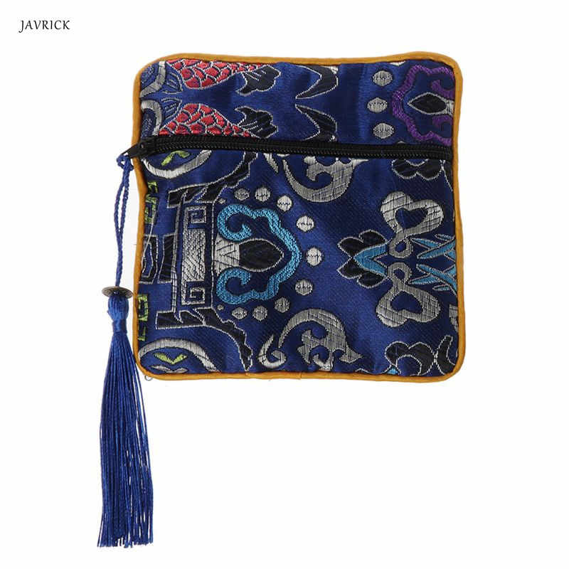 Bolso de la joyería del bordado chino clásico organizador de la borla de seda tradicional bolsa de cuentas de almacenamiento de la joyería de la boda