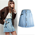 Fashion Heavy Industries Embroidery Women Denim Skirts Women High Waist Mini Skater Skirt Denim Short Jeans Skirt Female