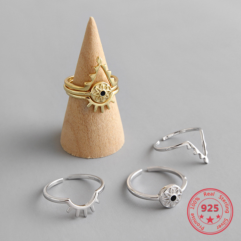 925 Sterling Silver Ring INS Demon Eye Combination Set Open Female Ring