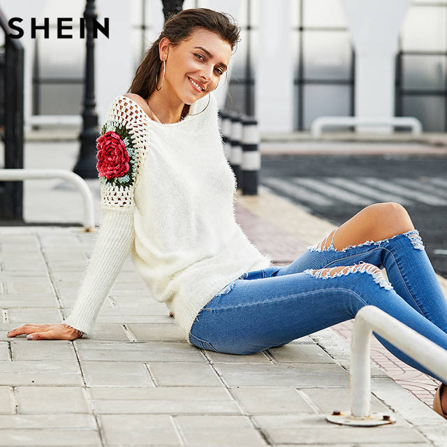 SHEIN Apricot Round Neck Floral Crochet Loose Sweater 2017 Fall Women New  Sweaters Embroidery Asymmetrical Pullovers b43962772