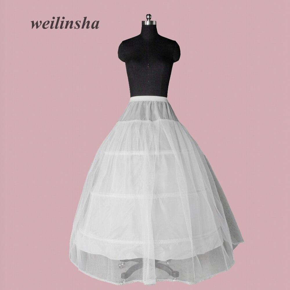 weilinsha Surprise Price Hot Sale 3 Hoop Cheap Ball Gown Bone Full Crinoline Petticoat Wedding Tulle Skirt High Quality