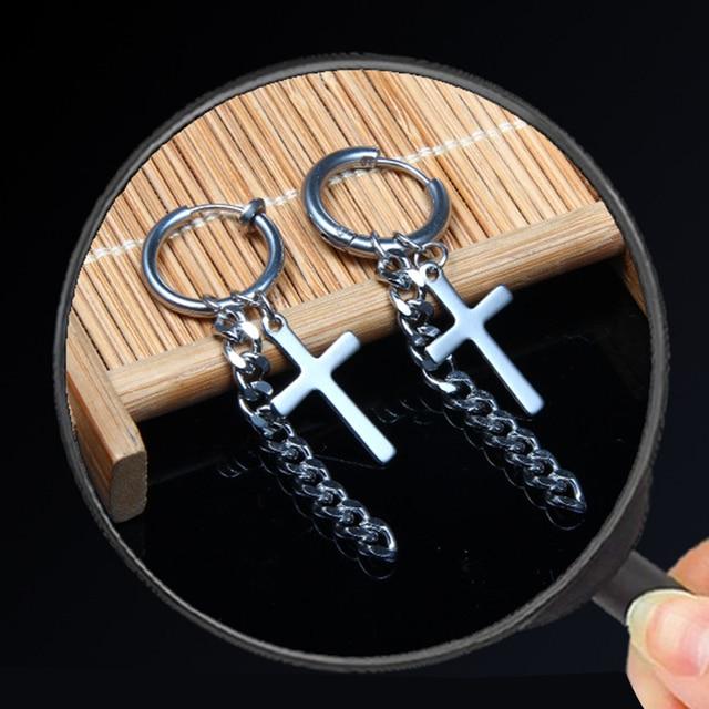 Round Circle Earrings Silver Stainless Steel Stud Earrings Skull Cross Star Scorpion Tassel For Women Men Hip Hop Jewelry Gifts