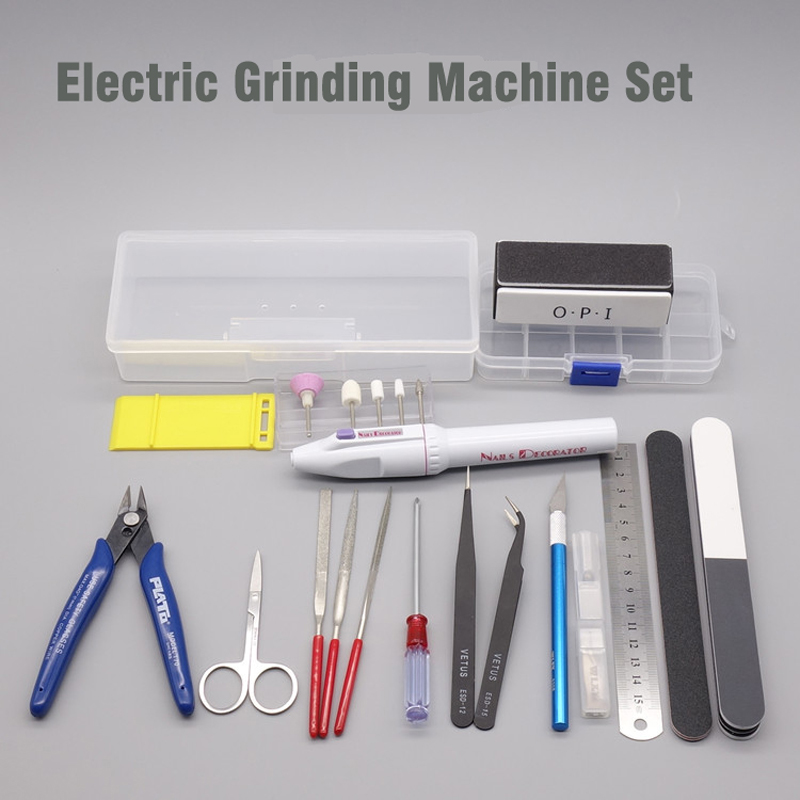 NEW Upgrade Tools COMBO Scale Military Gundam Assembly Model Tool Kits Electric Grinding Machine Storage Box
