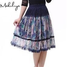 Makuluya, лучшие кружевные юбки, грация, модная женская юбка, большой размер, с принтом, кружевная богемная средняя юбка, красивая женская юбка QW