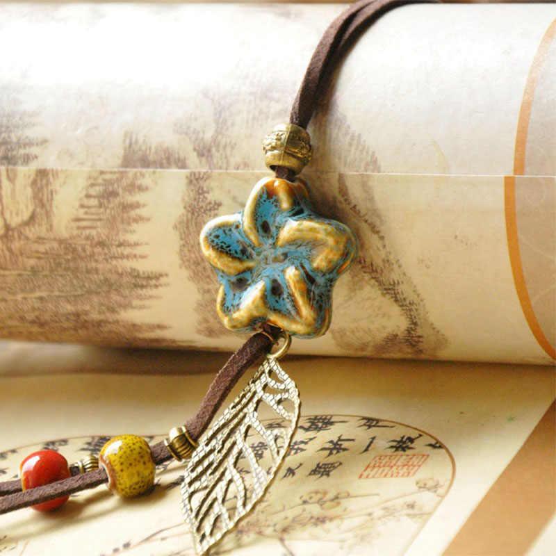 Bintang Kalung Keramik Beads Berongga Daun Bunga Liontin Pernyataan Charm Kulit Rope Choker PU Cord Rantai Wanita Perhiasan