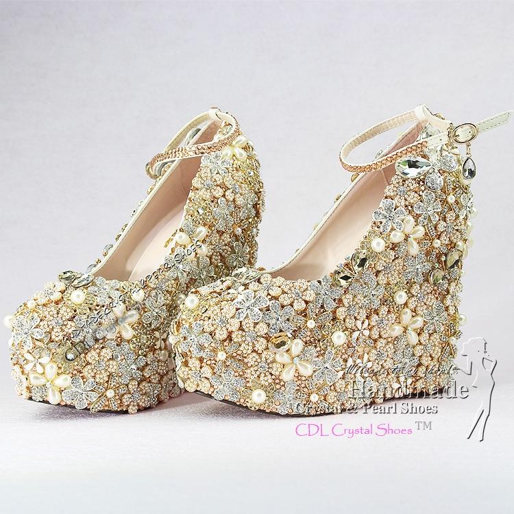 Custom Design GoldWedge Wedding Shoes Luxury Wedges for bridal party ...