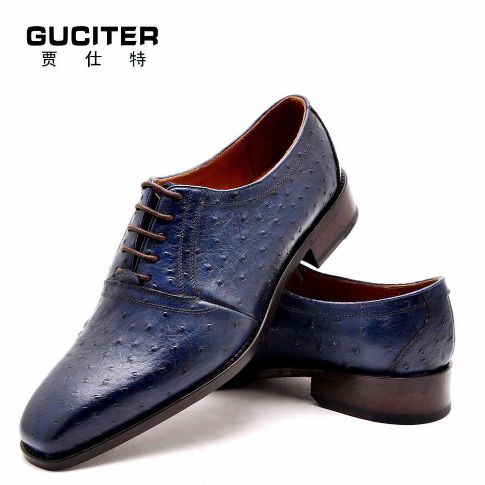 8622763c ... Goodyear welted zapatos de cuero auténtica piel de avestruz moda lujo  Italia zapatos hechos a mano ...