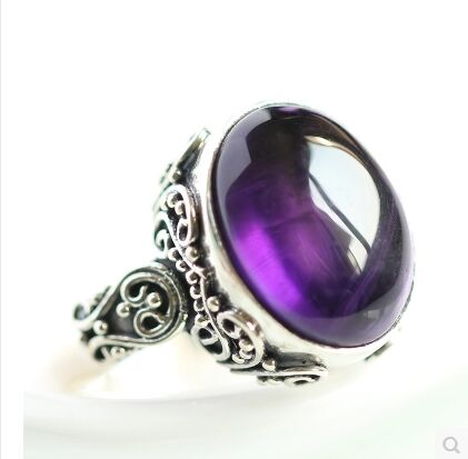 Natural stone ring 925 sterling silver ring retro temperament jewelry purple цена