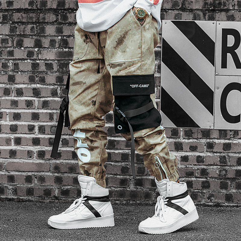 Hip Hop Off Letter Print Camo Cargo Mens Pants Zipper Patchwork Ribbon Pockets Trousers Casual Streetwear Camouflage Pants