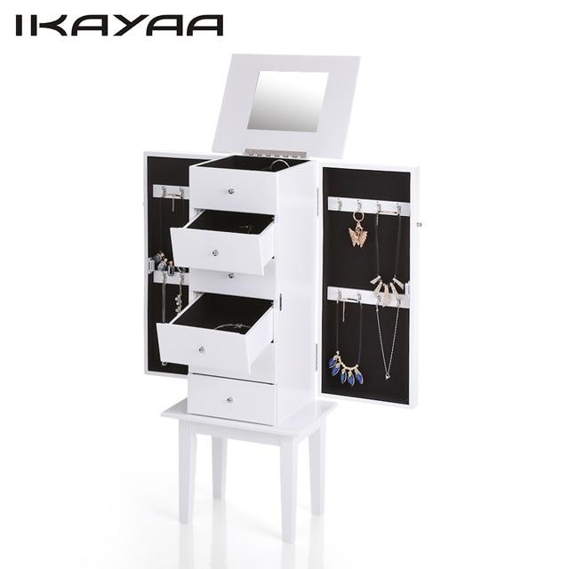 ikayaa nous stock antique debout armoire bijoux cabinet flip top miroir bijoux bote de