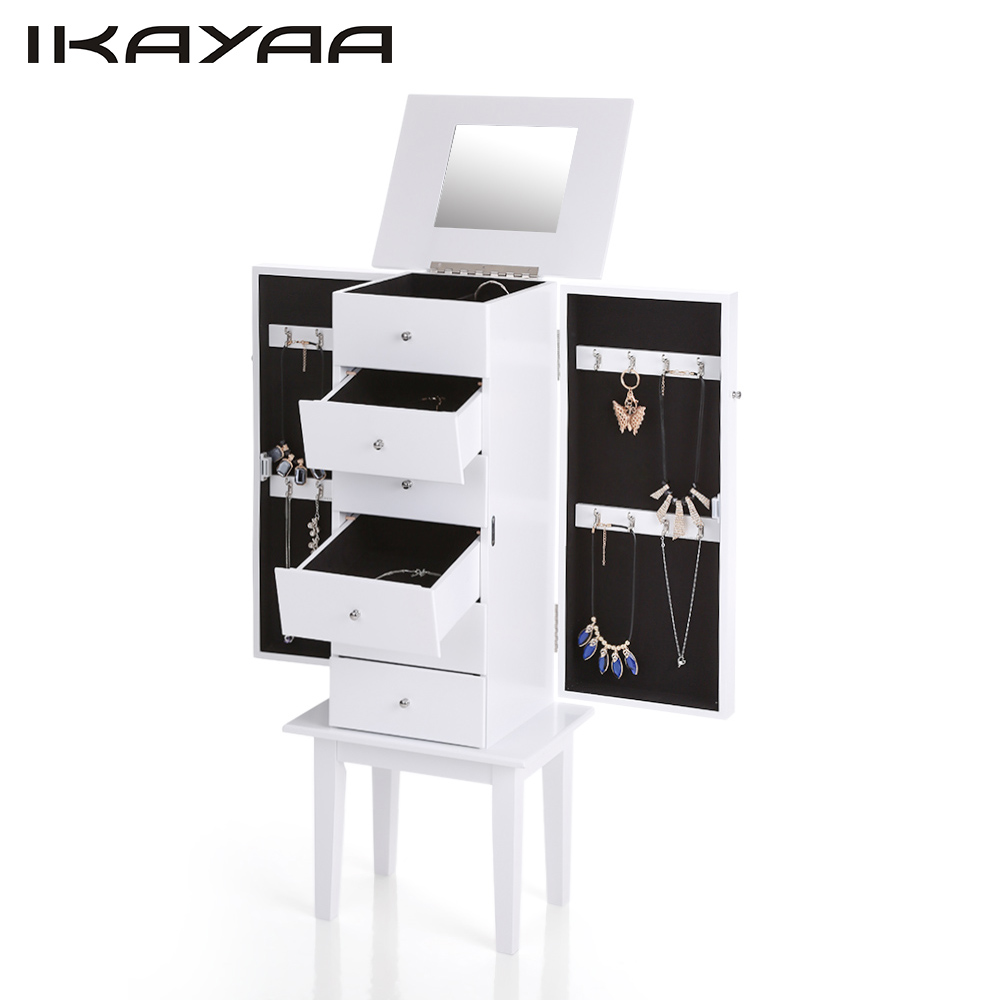 Full height mirrored cabinet another play on the rotating cabinet - Ikayaa Us Stock Antique Standing Jewelry Armoire Cabinet Flip Top Mirrored Jewelry Storage Box Organizer