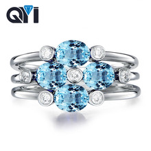 QYI Gemstone Natural Sky Blue Topaz Rings Oval Cut 2 ct 4 Stone Genuine 925 sterling silver Wedding Engagement Jewelry For Women