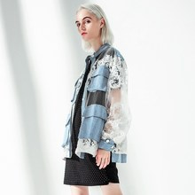 Fashion Tide Stand Collar Long Sleeve Blue Denim Coat Casual Women Patchwork White Lace Jeans Jacket Loose Split Joint Jacket white floral lace patchwork denim jeans