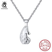 ORSA JEWELS Genuine 925 Sterling Silver Women Necklaces Vintage Chess Horse Pattern Female Pendant Fashion Present Jewelry SN132(China)