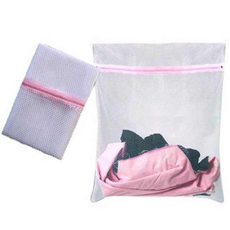 2 tamanhos Meias Sutiã Roupas Lavanderia Saco de Malha Máquina De Lavar Roupa Ajuda Lingerie Com Zíper Dobrável saco de rede de nylon de Limpeza