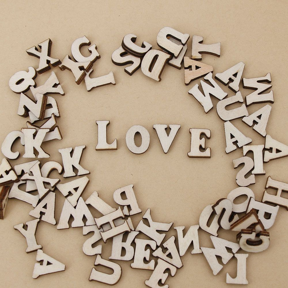 100Pcs Mixed English Letter&Alphabet Natural Wooden Letter Number Craft Flatback Scrapbooking Home Decor