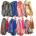Fashion African Aztec Jewelry Pendant Jersey Scarf Bead With Tassel Necklace 2016 Latest Brand Women Shawl Scarves Bufanda Mujer