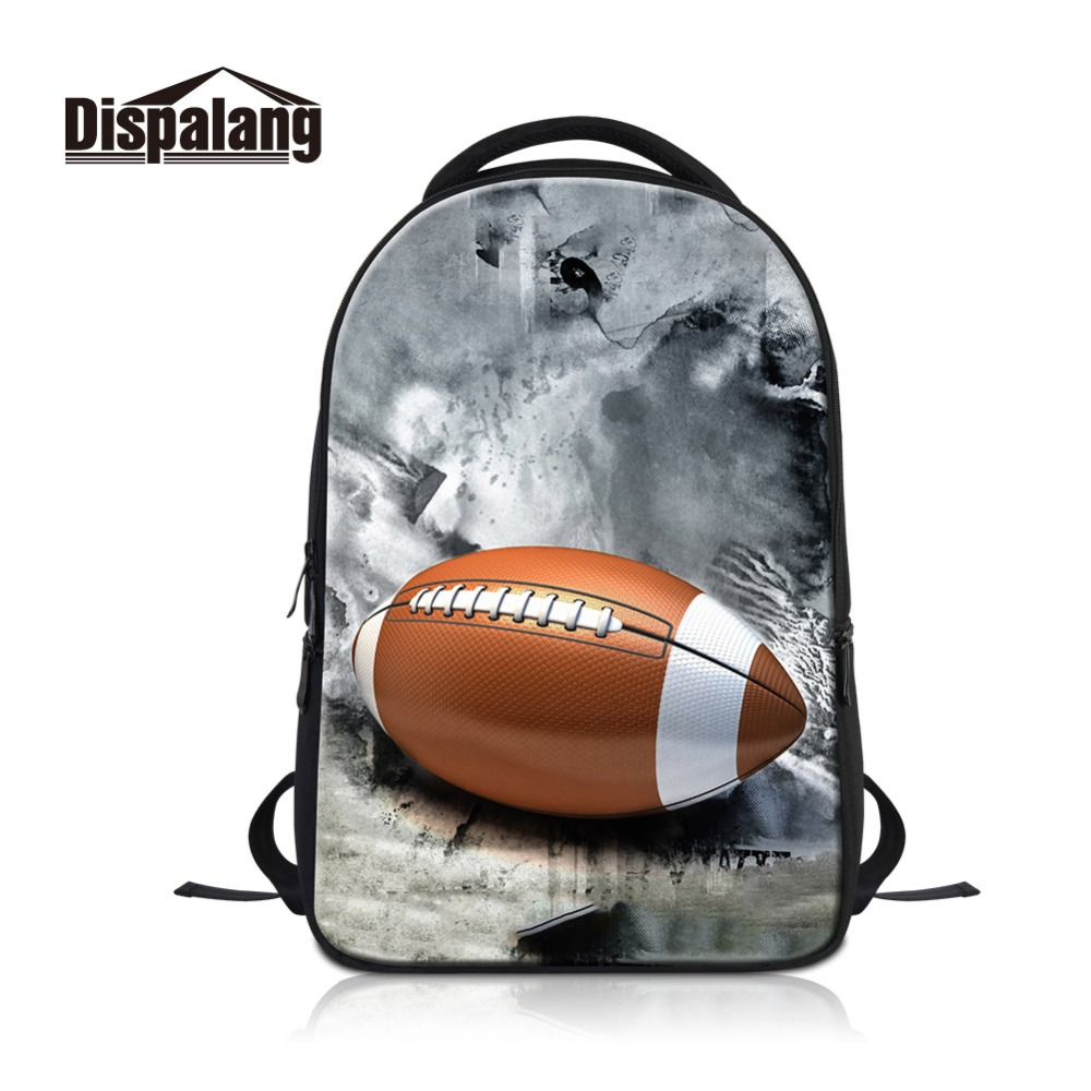 Dispalang American Footballl Printing Laptop Pack for Guys Custom Photos Mark College Students Computer Backpack for Traveling