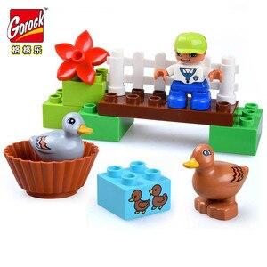 Image 5 - كبيرة الحجم سعيد مزرعة أشكال حيوانات صغيرة اللبنات مجموعة للأطفال لتقوم بها بنفسك هدايا متوافقة Duploe مدينة الطوب ألعاب أطفال الطفل هدية