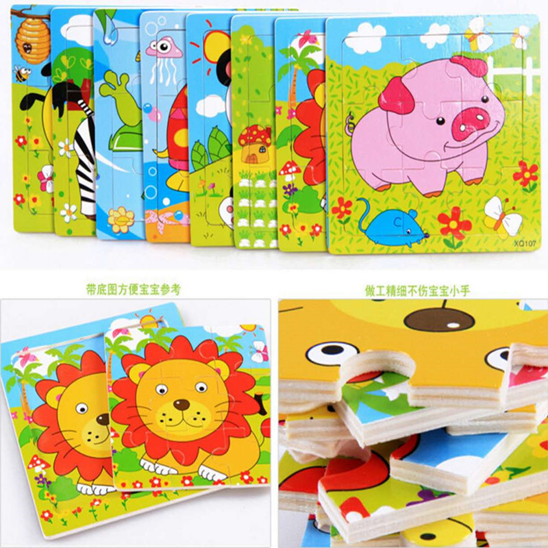 DIY Wooden Puzzle Jigsaw Toys wood Animal Model For Children Puzzles Intelligence Kids Early Children Educational Toys  цена
