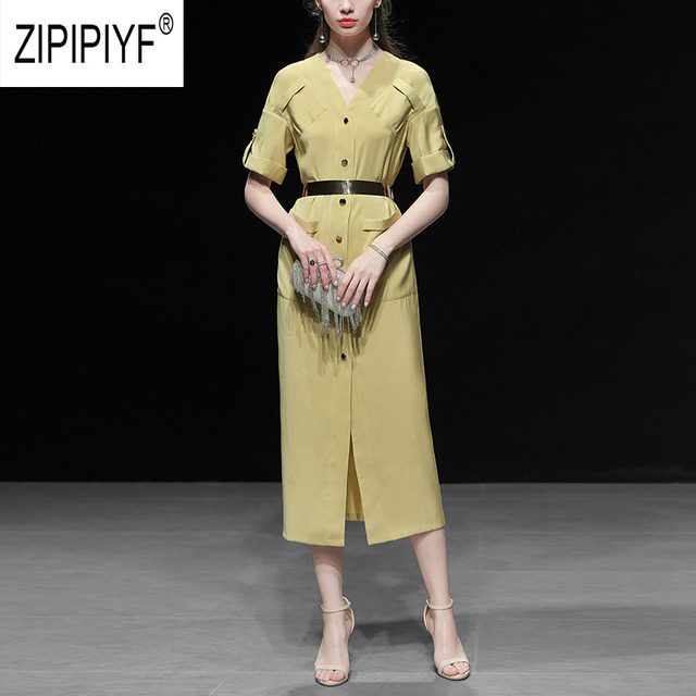 2019 Summer Fashion Dresses V Neck Short Sleeve Single-breasted Solid Color Pockets Casual Dresses Elegant Chic Dresses Z1145
