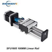 Linear Rail Cnc Router Ballscrew 1605 100mm Travel Length Linear Guide Rail Cnc Stage Motion Mould + Nema23 Stepper Motor