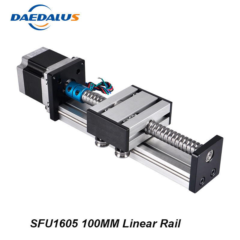 Linear Rail Cnc Router Ballscrew 1605 100mm Travel Length Linear Guide Rail Cnc Stage Motion Mould + Nema23 Stepper Motor cnc linear guide 700mm linear mould sfu1605 rail part nema23 stepper motor 57 motor for cnc work table