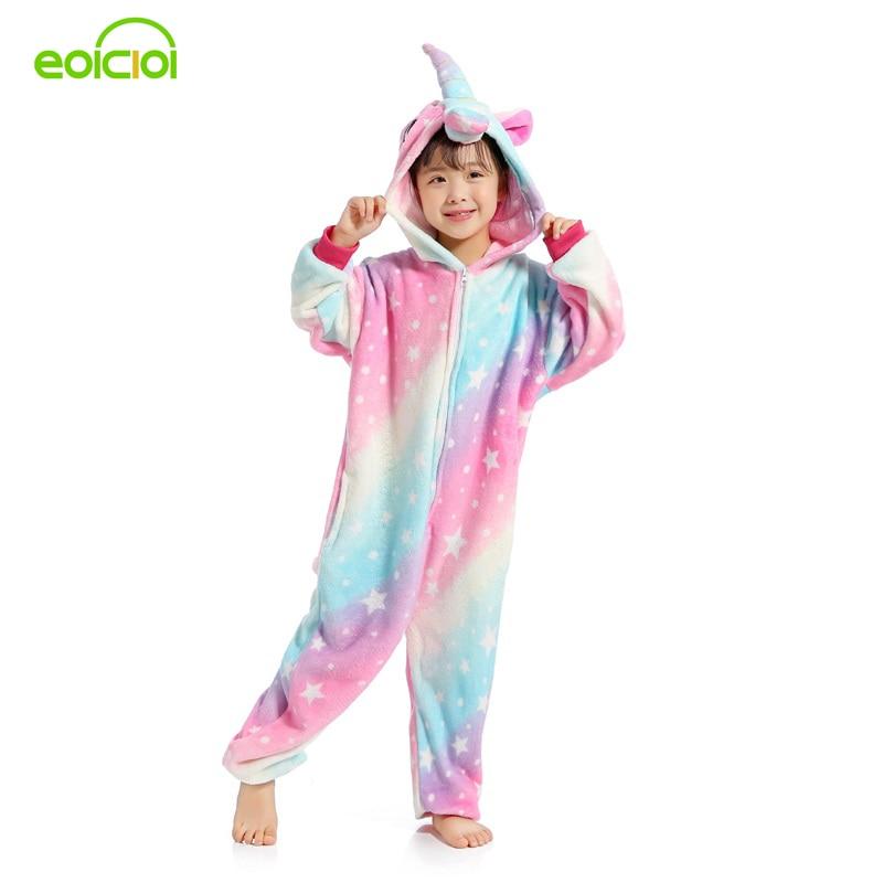 все цены на EOICIOI New Animal Starry Sky Pegasus Unicorn Pyjamas Flannel Kids Boys Girls Pajamas Onesies Children Cartoon Cosplay Sleepwear