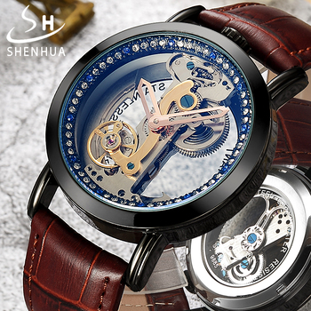Shenhua 2019 Transparent Tourbillon Watch Mechanical Wrist Watch Leather Self Winding Mens Automatic Mechanical Watches for Men