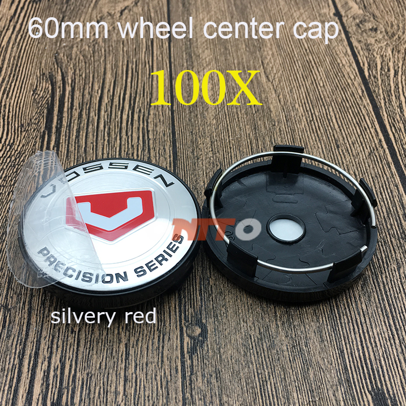 Best selling 100X for VOSSEN Silvery Red ABS base 2.36inch 60mm Car Emblem Badge Wheel Center Hub Caps for Car Accessories