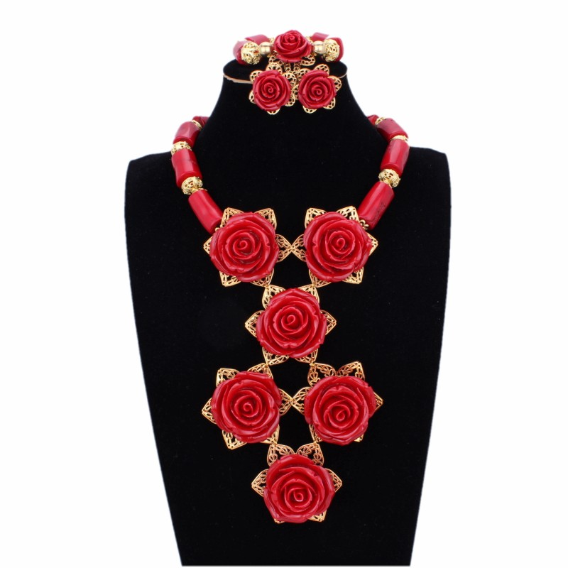все цены на Original Nature Flower Coral Beads Jewelry Sets Red Necklace Set African beads Jewelry With Necklace and Earrings Bracelet 2018 онлайн