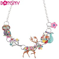 Bonsny Enamel Jewelry Deer Squirrel Owl Necklace Chain Alloy Maxi Statement Geometric 2016 News Collar Choker