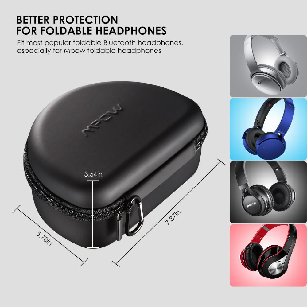 Mpow BH107 Eva Universal Headphones Storage Case Waterproof Earphones Headphone Case Box Headset Storage Pouch Bag Drop shipping in Earphone Accessories from Consumer Electronics