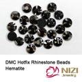 DMC Hotfix Strass Para Bridals Vestido de Hematita Strass Rodada Flatback Cola Backing Ferro Em Vidro Diamantes Decorações DIY