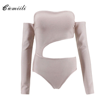 CIEMIILI Sexy Hollow Out Off Shoulder Strapless Back Zipper Bandage Bodysuits 2017 Night Out Celebrity Party New Skinny Rompers