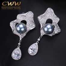 CWWZircons Fashion Women Micro Pave CZ Jewelry Long Gray Pearl Dangle Earring with Water Drop Cubic Zirconia Stone CZ158(China)