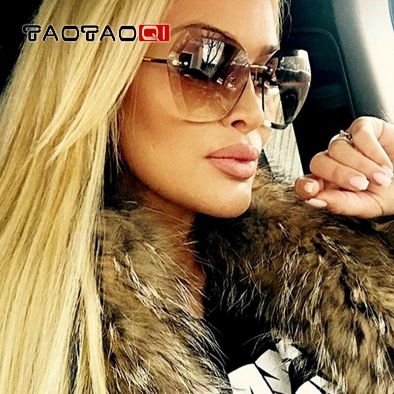 TAOTAOQI Sunglasses Women Square Rimless Diamond cutting Lens Brand Designer Fashion Shades Sun Glasses Female vintage UV400