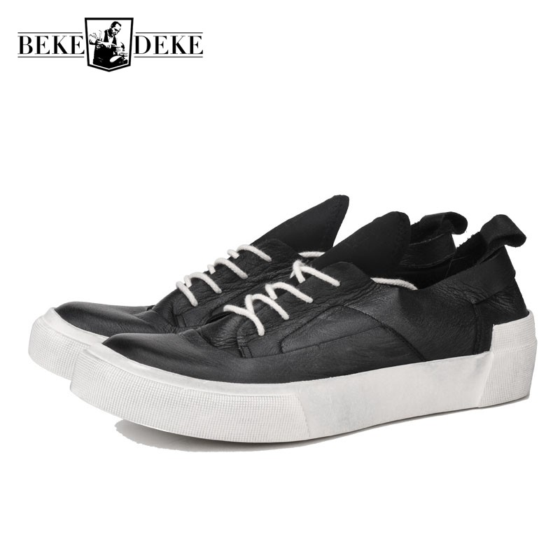 Handmade Genuine Leather White Sneakers Men Lace Up Casual Flat Platform Shoes Men Luxury Brand Vintage Flats Zapatillas Hombre northmarch brand new shoes men casual sneakers men fashion breathable designer shoes lace up flats man shoes zapatillas hombre
