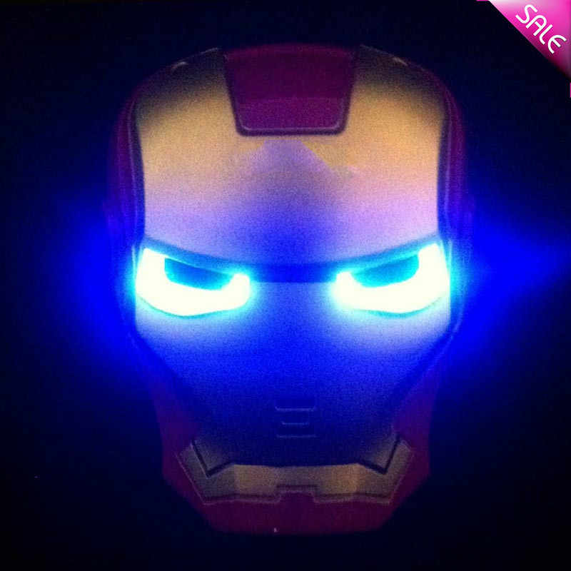 Nueva Máscara de superhéroe LED brillante para chico y adulto vengadores Marvel Halloween Iron Man máscara de fiesta de maquillaje de juguete para chico s Light Up