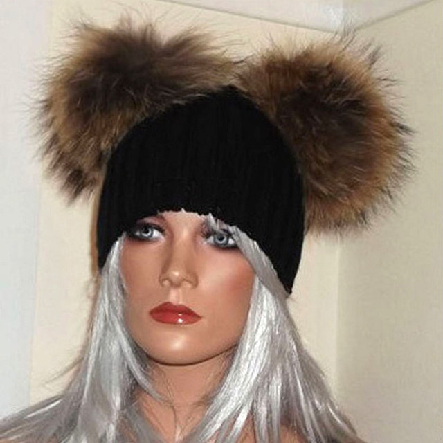 Winter Raccoon Fur ball cap Double pom poms winter hat for women girl 's wool hat knitted cotton beanies cap thick