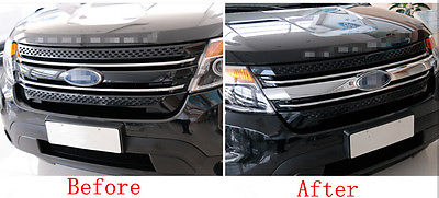 Chrome Front Centre Grill Grille Cover Trim 1pcs For Ford Explorer 2011-2014