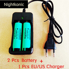 Nightkonic 2 PCS/LOT 18650 battery  3.7V Li-ion Rechargeable Battery 18650B Flat top Green + 1 PCS (EU/US) slot Charger