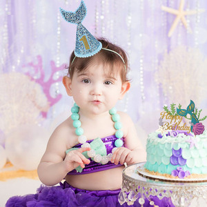 Image 4 - Happy Birthday Decoration Mermaid Paper Cake Topper Princess Garland 1st First Birthday Boy Girl Party Supplies