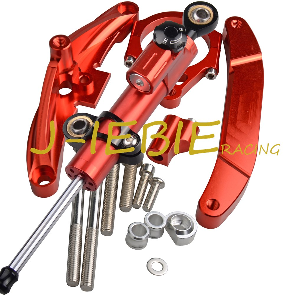 CNC Steering Damper Stabilizer and Red Bracket Mounting For Yamaha FZ1 FAZER 2006-2015 2007 2008 2009 2010 2011 2012 2013 2014 cnc steering damper stabilizer w bracket mounting kit satety control for honda cb1000r 2008 2009 2010 2011 2012 2013 2014 2016