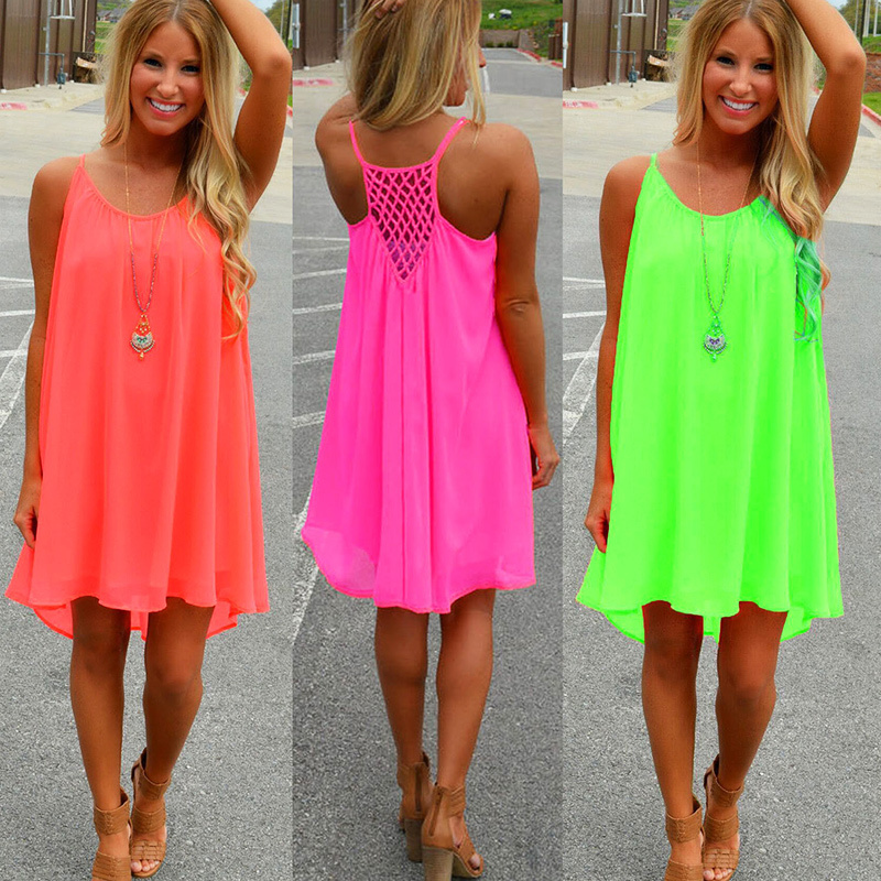 Women beach dress fluorescence female summer dress chiffon voile women dress 2018 summer style women clothing plus size 1