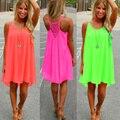 Mulheres praia vestido de fluorescência vestido de verão chiffon feminino mulheres vestido 2016 estilo verão vestido plus size roupas femininas
