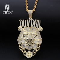 TBTK Dog Head Shape Pendant Street HipHop Boy&Girl Jewelry DunDeal Statement Gold Necklace Micro inlaid Zircon Pendant Fashion