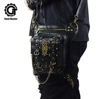 New Launched Black Steampunk Bag Vintage Rivet Retro Thigh Waist Bags Men Women Unisex Crossbody Phone Shoulder Messenger Bag